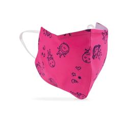 Eco Máscara de Proteção Lavável Padrão rosa criança